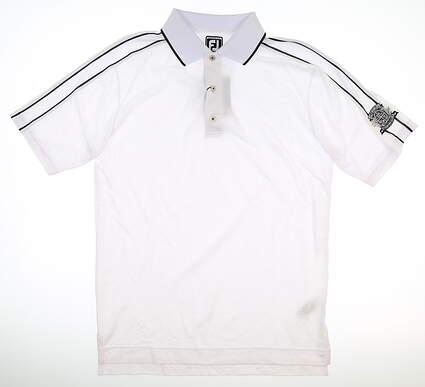 New W/ Logo Mens Footjoy Golf Polo Medium M White MSRP $75 20406