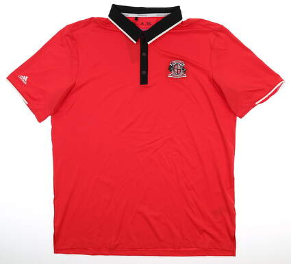 New W/ Logo Mens Adidas Polo Large L Red MSRP $65 AF0369
