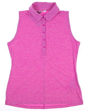 New Womens Under Armour Sleeveless Polo Large L Pink MSRP $75 UW0455