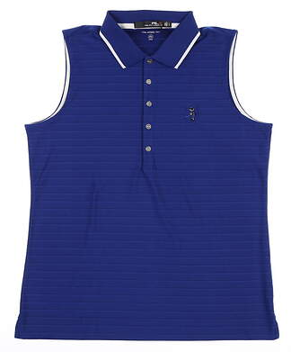 New W/ Logo Womens Ralph Lauren RLX Sleeveless Polo Medium M Blue MSRP $100