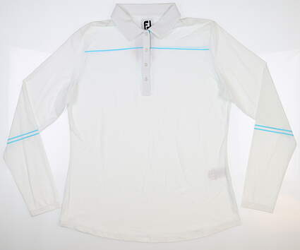 New Womens Footjoy Long Sleeve Golf Polo Large L White MSRP $90 27582