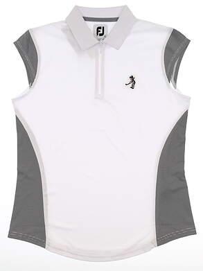 New W/ Logo Womens Footjoy Sleeveless Polo Small S White MSRP $65 25493