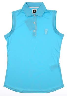 New W/ Logo Womens Footjoy Solid Interlock Sleeveless Polo Small S Aqua MSRP $65 27077