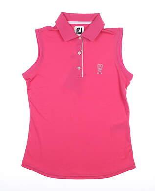 New W/ Logo Womens Footjoy Solid Interlock Sleeveless Polo X-Small XS Pink MSRP $65 27074