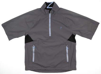 New W/ Logo Womens Zero Restriction Short Sleeve Rain Jacket Small S Gray MSRP $250