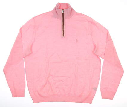 New Mens Ralph Lauren 1/4 Zip Sweater Large L Pink MSRP $185