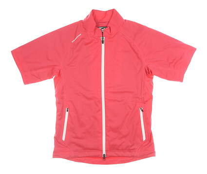 New W/ Logo Womens Sun Mountain Short Sleeve Rain Shirt Small S Pink MSRP $99