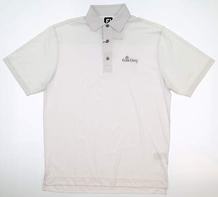 New W/ Logo Mens Footjoy Lisle Tonal Print Polo Medium M White MSRP $79 25751