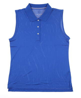 New Womens Tory Sport Tech Pique Sleeveless Polo Large Surf Blue MSRP $120 45279
