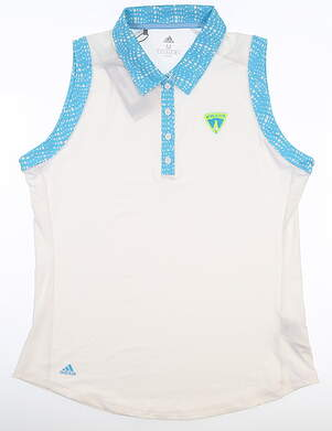 New W/ Logo Womens Adidas Sleeveless Polo Medium M White MSRP $79 DU7895