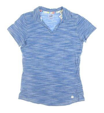 New Womens Puma Heather Slub Polo Small S Palace Blue MSRP $60 595824