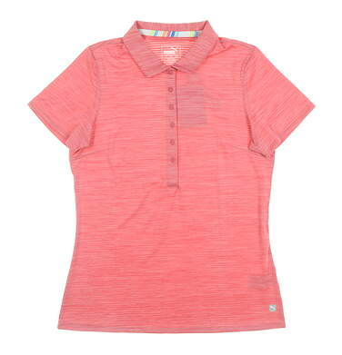 New Womens Puma Sheer Stripe Polo Small S Pink MSRP $60 595826