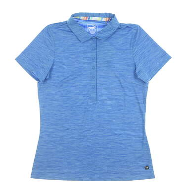 New Womens Puma Sheep Stripe Polo Small S Blue MSRP $60 595826
