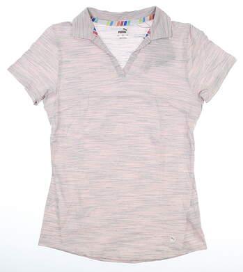 New Womens Puma Heather Slub Polo Small S Rosewater MSRP $60 595824