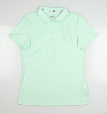 New Womens Puma Sheer Stripe Polo Small S Mist Green MSRP $60 595826