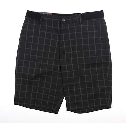 New Mens Puma Plaid Shorts 32 Puma Black MSRP $75 595809 01