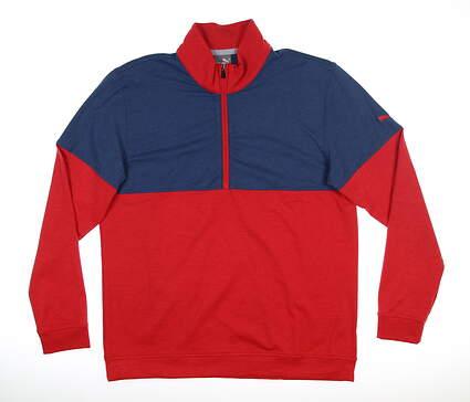 New Mens Puma Warm Up 1/4 Zip Pullover Medium Cherry/Dark Denim MSRP $75 595803