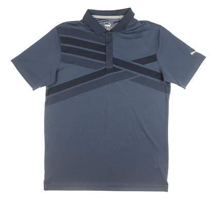 New Mens Puma Alterknit Texture Polo Medium M Navy Blue MSRP $75 595779