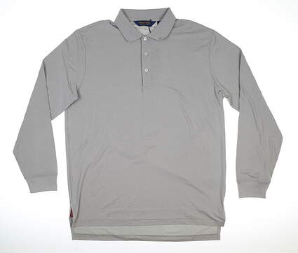New Mens Ralph Lauren Long Sleeve Polo Large L Gray MSRP $100