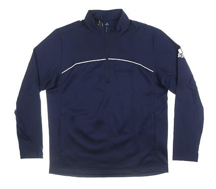 New Mens Adidas Go-To 1/4 Zip Pullover Large L Navy Blue MSRP $90 EC1825