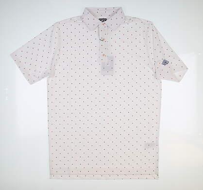 New W/ Logo Mens Footjoy Lisle Square Print Polo Medium M White MSRP $75