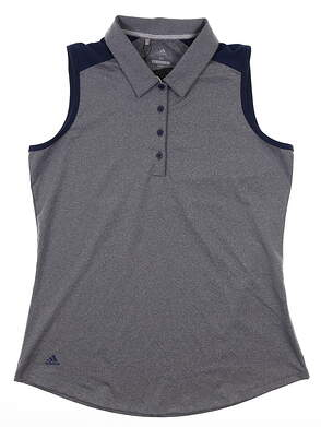New W/ Logo Womens Adidas Sleeveless Polo Medium M Navy Blue MSRP $70 DQ0530