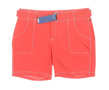 New Womens Jo Fit Belted Golf Shorts 12 Red MSRP $90 GB405-TMO