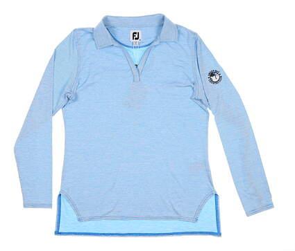 New W/ Logo Womens Footjoy Long Sleeve Golf Polo Medium M Blue MSRP $85 25482