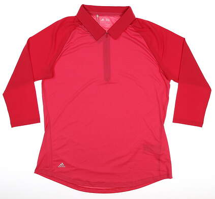 New Womens Adidas Long Sleeve Polo Large L Red MSRP $85 BC5330