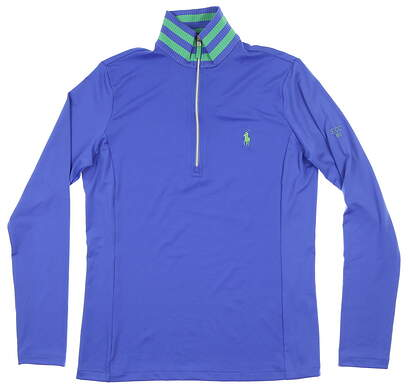 New W/ Logo Womens Ralph Lauren 1/4 Zip Golf Pullover Small S Blue MSRP $140