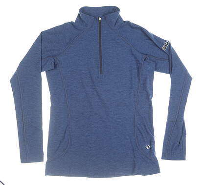 New W/ Logo Womens Straight Down 1/4 Zip Pullover Small S Blue MSRP $92 W14220