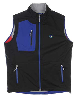 New W/ Logo Mens Peter Millar Vest Medium M Black/Blue MSRP $165