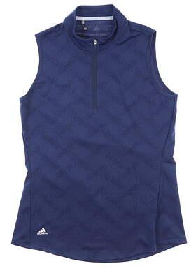 New Womens Adidas Half Zip Sleeveless Polo Small S Navy Blue MSRP $60 FJ4906