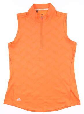 New Womens Adidas Half Zip Sleeveless Polo Medium M Orange MSRP $60 FI9543