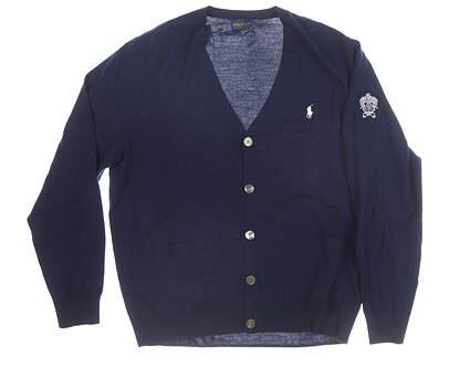 New W/ Logo Mens Ralph Lauren Cardigan Large L Navy Blue MSRP $180