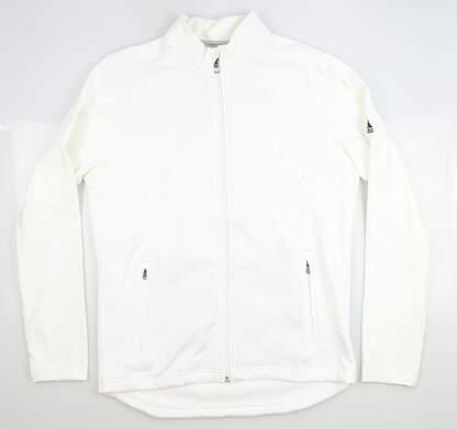 New Mens Adidas Full Zip Mock Neck Medium M White MSRP $100 CZ8220