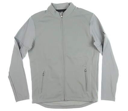 New Mens Adidas Full Zip Mock Neck Medium M Gray MSRP $100 CY9363