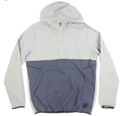 New Mens Adidas 1/2 Zip Pullover Medium M Gray/Navy Blue MSRP $90 DZ0654