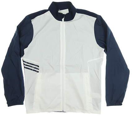 New Mens Adidas Jacket Medium M White/Navy Blue MSRP $80 CY9334
