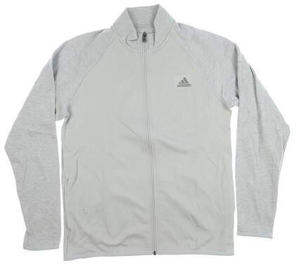 New Mens Adidas Full Zip Mock Neck Medium M Gray MSRP $80 CY9306