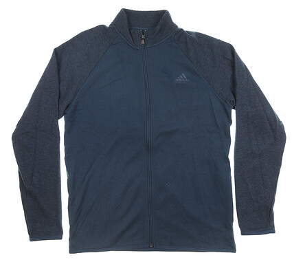 New Mens Adidas Full Zip Mock Neck Medium M Navy Blue MSRP $80 CY9304