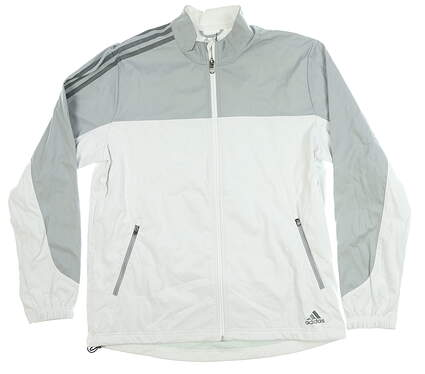 New Mens Adidas Jacket Medium M Gray/White MSRP $80 BC6892
