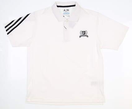 New W/ Logo Youth Adidas Boys Golf Polo Medium M White MSRP $45 B88625
