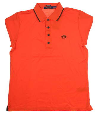 New W/ Logo Womens Ralph Lauren Golf Polo Large L Orange MSRP $85