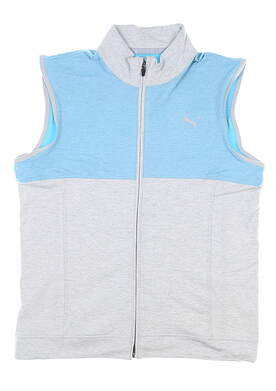 New Mens Puma Cloudspun Warm Up Vest Medium M High Rise/Milky Blue MSRP $90 597127