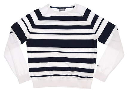New Womens Puma Ribbon Sweater Small S White/Navy Blazer MSRP $80 599268