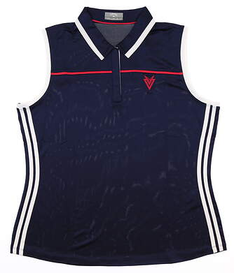New W/ Logo Womens Callaway Sleeveless Polo Large L Navy Blue MSRP $65