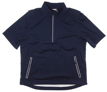 New Mens Cutter & Buck Fairway Short Sleeve 1/2 Zip Jacket Large L Navy MSRP $155 MCO00012
