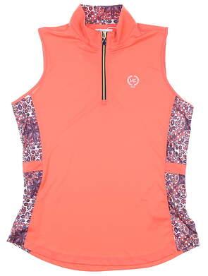 New W/ Logo Womens Greg Norman Sleeveless Polo Medium M Pink MSRP $70
