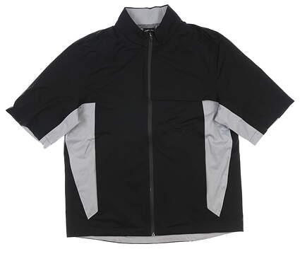 New Mens Greg Norman Short Sleeve Rain Jacket Medium M Black MSRP $100 G7S8J045